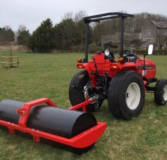 Paddock and field rollers, towed by a Mitsubishi compact tractor